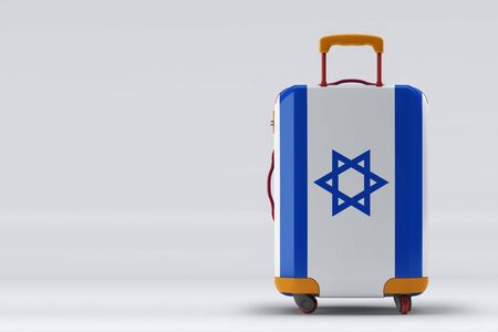 Israel flag on a stylish suitcases back view on color background. Space for text. International travel and tourism concept. 3D rendering.