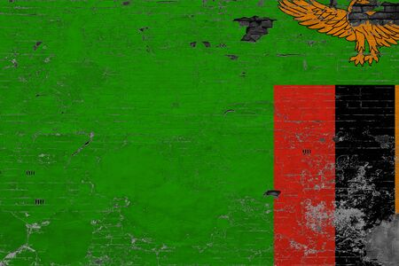 Zambia flag on grunge scratched concrete surface. National vintage background. Retro wall concept. Standard-Bild - 150269687