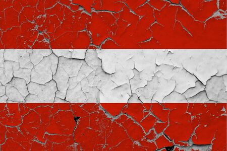 Austria flag close up grungy, damaged and scratched on wall peeling off paint to see inside surface. Vintage National Concept. 免版税图像 - 150269298