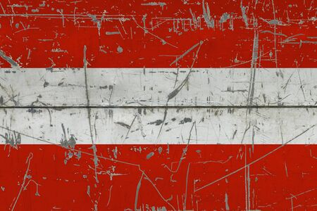 Austria flag painted on cracked dirty surface. National pattern on vintage style surface. Scratched and weathered concept.