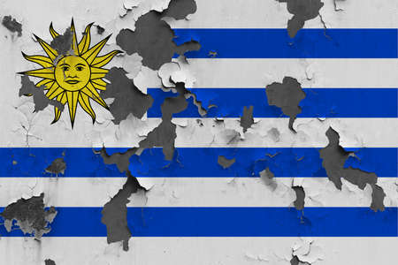Uruguay flag close up painted, damaged and dirty on wall peeling off paint to see concrete surface. Vintage National Concept.