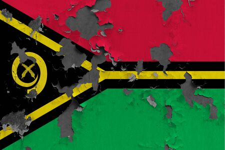 Vanuatu flag close up painted, damaged and dirty on wall peeling off paint to see concrete surface. Vintage National Concept.