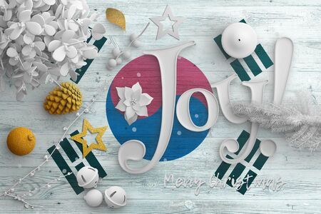 South Korea flag on wooden table with joy text. Christmas and new year background, celebration national concept with white decor. Foto de archivo