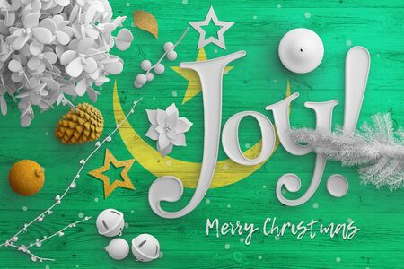 Mauritania flag on wooden table with joy text. Christmas and new year background, celebration national concept with white decor.