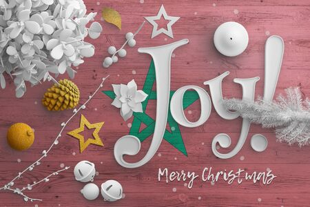 Morocco flag on wooden table with joy text. Christmas and new year background, celebration national concept with white decor.