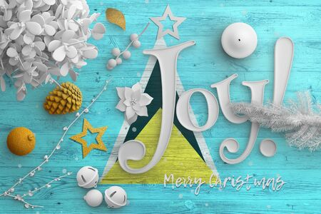 Saint Lucia flag on wooden table with joy text. Christmas and new year background, celebration national concept with white decor.