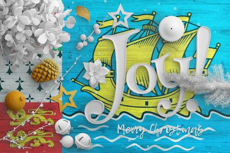 Saint Pierre And Miquelon flag on wooden table with joy text. Christmas and new year background, celebration national concept with white decor.