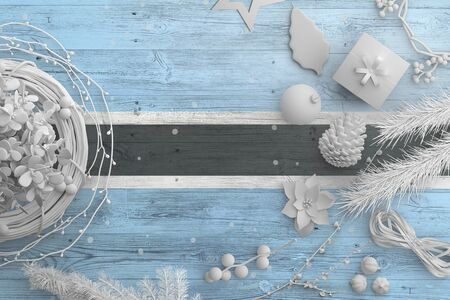 Botswana flag on wooden table with snow objects. Christmas and new year background, celebration national concept with white decor.