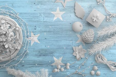 Micronesia flag on wooden table with snow objects. Christmas and new year background, celebration national concept with white decor.