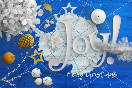 Antarctica flag on wooden table with joy text. Christmas and new year background, celebration national concept with white decor.