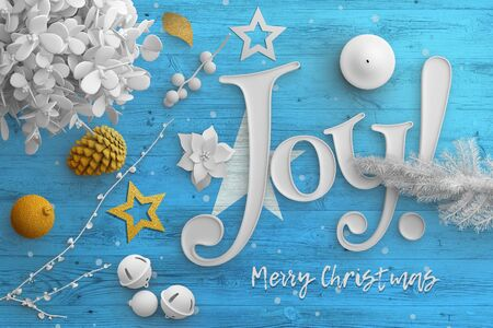 Somalia flag on wooden table with joy text. Christmas and new year background, celebration national concept with white decor. Foto de archivo