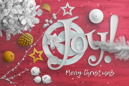 Tunisia flag on wooden table with joy text. Christmas and new year background, celebration national concept with white decor. Foto de archivo