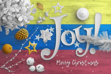 Venezuela flag on wooden table with joy text. Christmas and new year background, celebration national concept with white decor.