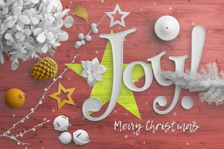 Vietnam flag on wooden table with joy text. Christmas and new year background, celebration national concept with white decor. Foto de archivo