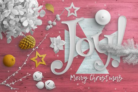 Wallis And Futuna flag on wooden table with joy text. Christmas and new year background, celebration national concept with white decor.