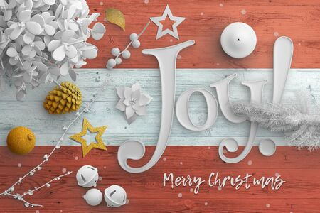 Austria flag on wooden table with joy text. Christmas and new year background, celebration national concept with white decor. 免版税图像 - 150297299