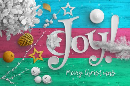 Azerbaijan flag on wooden table with joy text. Christmas and new year background, celebration national concept with white decor.