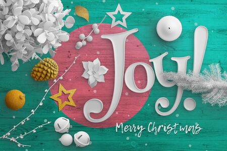 Bangladesh flag on wooden table with joy text. Christmas and new year background, celebration national concept with white decor. Foto de archivo
