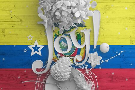 Ecuador flag on wooden table with Joy text. Christmas and new year background, celebration national concept with white decor.