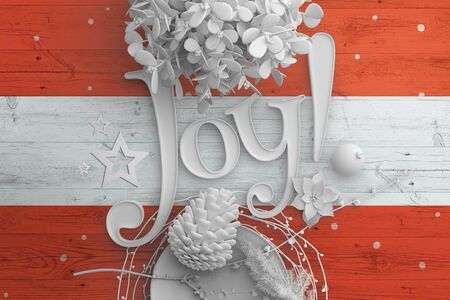 Austria flag on wooden table with Joy text. Christmas and new year background, celebration national concept with white decor. 免版税图像 - 150305798