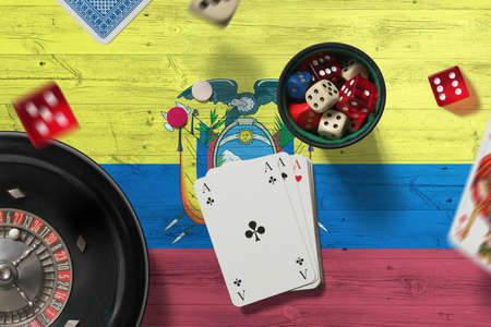 Ecuador casino theme. Aces in poker game, cards and chips on red table with national flag background. Gambling and betting.