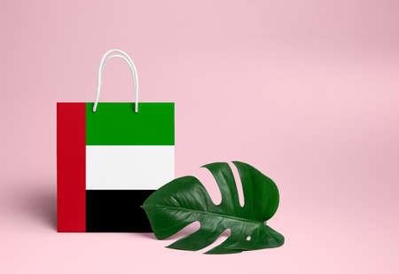 United Arab Emirates shopping concept. National cardboard shopping bag with monstera leaf and pink background. Online shopping theme.