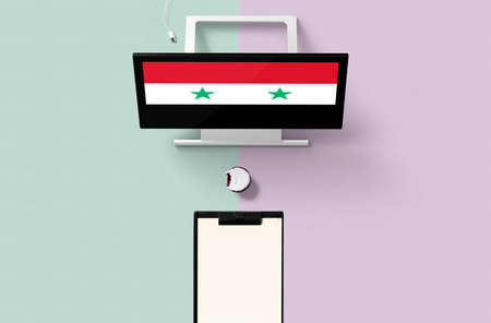 Syria national flag on computer screen top view, cupcake and empty note paper for planning. Minimal concept with turquoise and purple background.