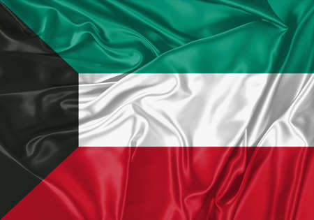 Kuwait flag waving in the wind. National flag on satin cloth surface texture. Background for international concept.