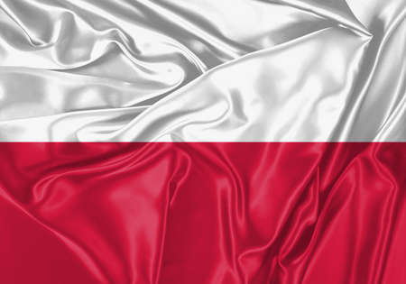 Poland flag waving in the wind. National flag on satin cloth surface texture. Background for international concept. Banco de Imagens