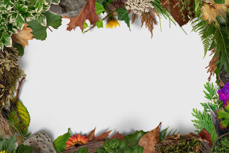 Autumn composition frame. Frame made of autumn dried leaves on flag background. Flat lay, top view.