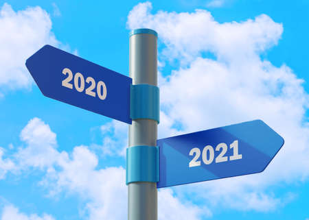 Street Sign the direction Way to 2020 versus 2021. New Year direction sign. Banco de Imagens