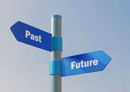 Street Sign the direction Way to Past versus Future. Banco de Imagens