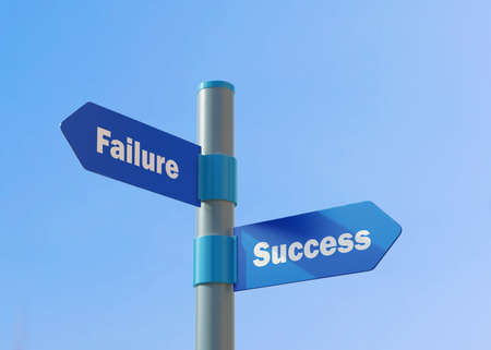 Street Sign the direction Way to Failure versus Success.