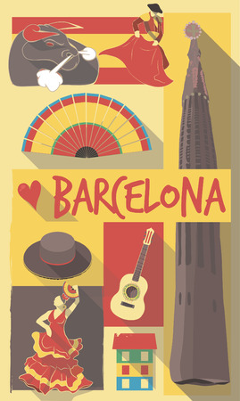 barcelona spain: Retro Drawing of Spanish Cultural Symbols on a Poster and Postcard