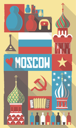 russian  russia: Retro Drawing of Russian Cultural Symbols on a Poster and Postcard