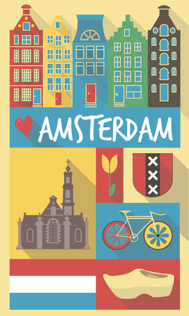 Retro Drawing of Italian Holland Symbols on a Poster and Postcard Vector