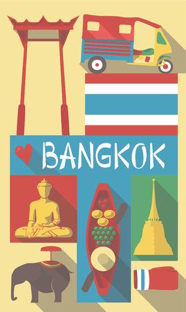 thai buddha: Retro Dibujo de Tailandia Cultural Symbols en un cartel y postal Vectores