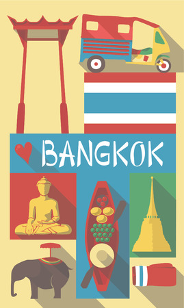 asian culture: Retro Drawing of Thailand Cultural Symbols on a Poster and Postcard