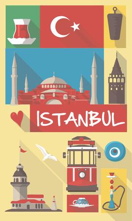 turkey istanbul: Retro Disegno di turchi simboli culturali su un poster e cartolina