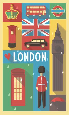 Retro Tekening van de Britse culturele symbolen op een poster en Postcard