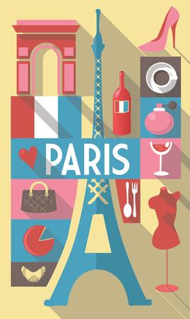 tourist vacation: Retro Disegno di francesi simboli culturali su un poster e cartolina