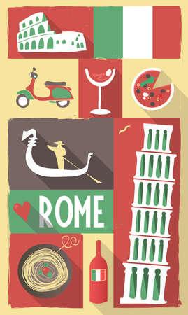 tarjeta postal: Retro Dibujo de Símbolos Italianos de Cultura en un cartel y postal