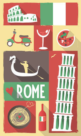 Retro Drawing of Italian Cultural Symbols on a Poster and Postcard Illustration