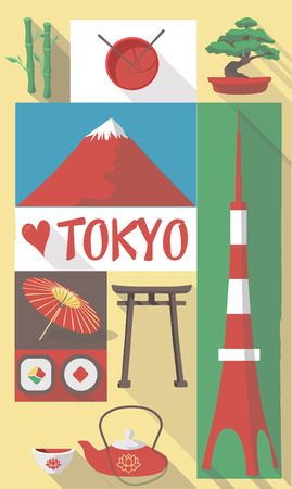 Retro Tekening van Japanse Culturele Symbolen op een poster en Postcard