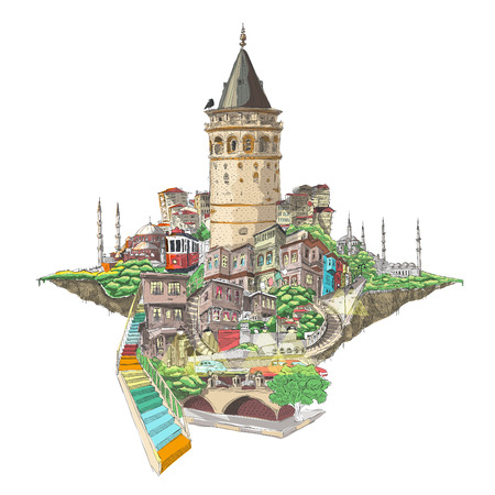 tourism: vector drawing istanbul galata tower view