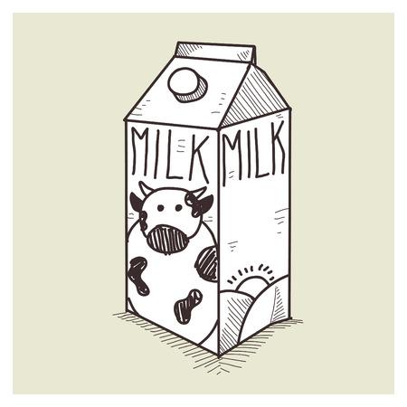vector sketch milk box