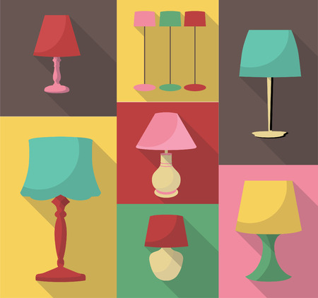 lampshade: vector flat design icon set of lampshade