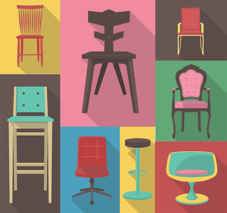 chair wooden: vector flat design icon of a chair set