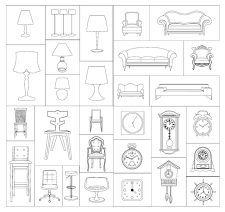 swivel: vector flat design icon of a furniture set