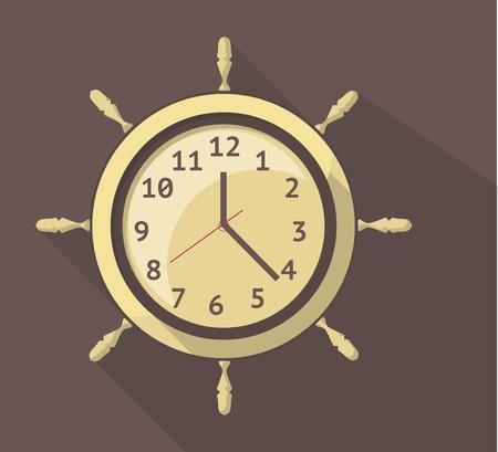 orologio da parete: disegno vettoriale piatta icona di un orologio da parete